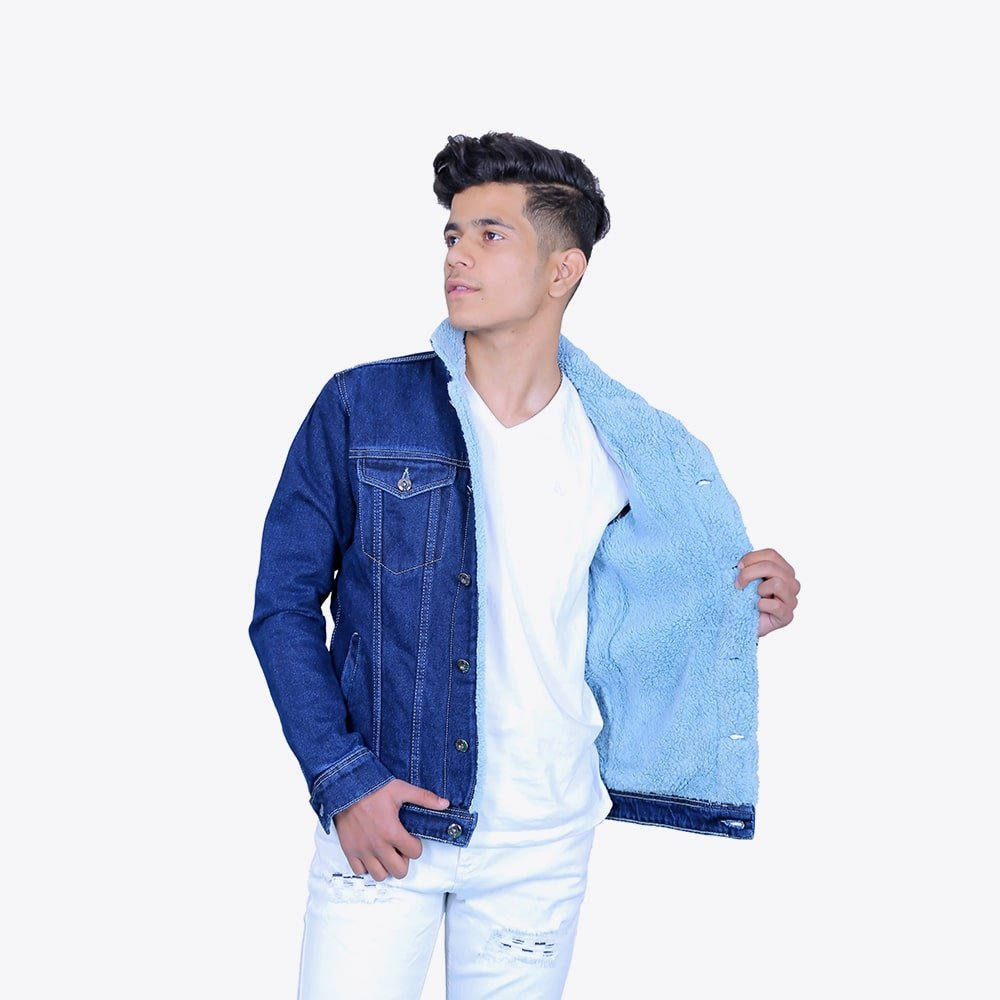 Impaurito Mens Dark Blue Cotton Sherpa Fur Denim Jacket_2