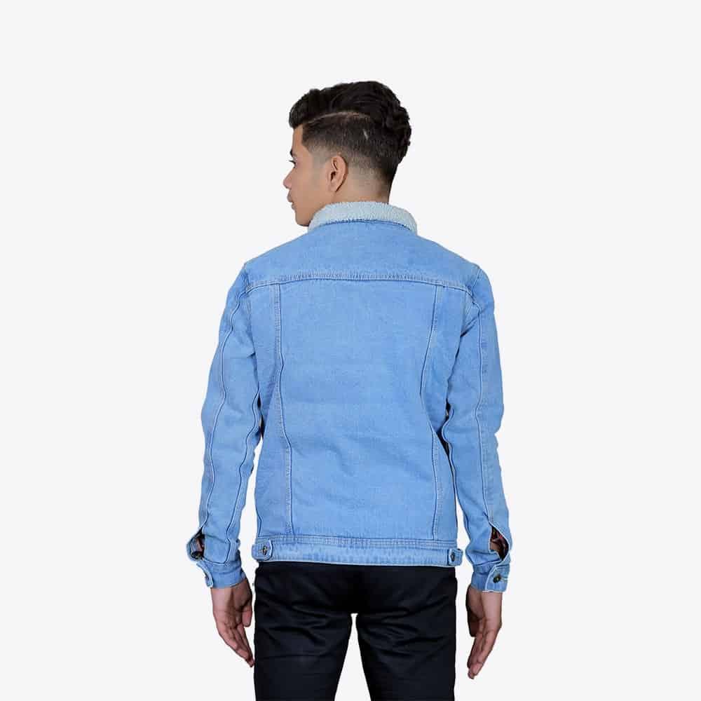Men's Ice Wash Denim Jacket with Fur
