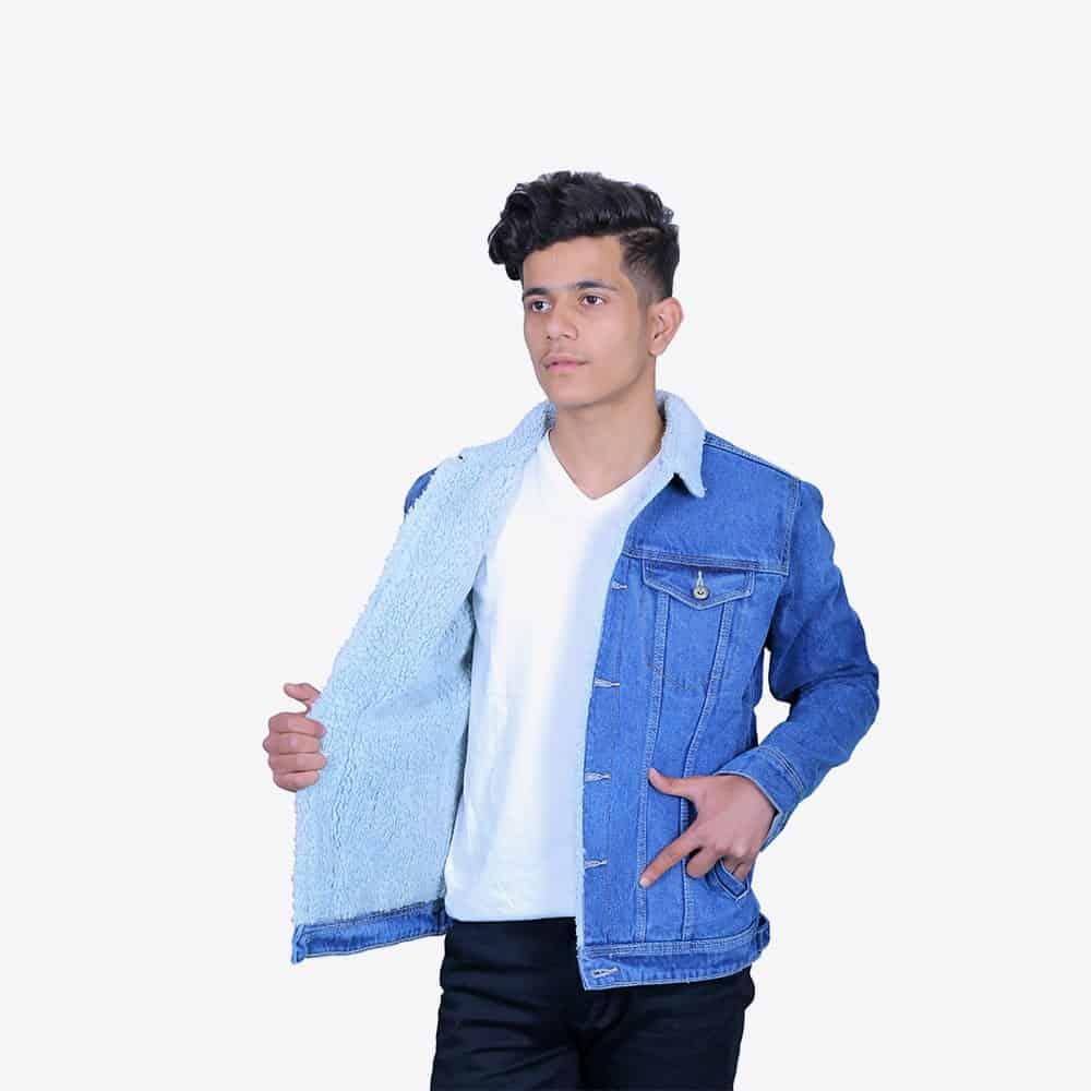 Men's Light Blue Wash Denim Jacket with Fur