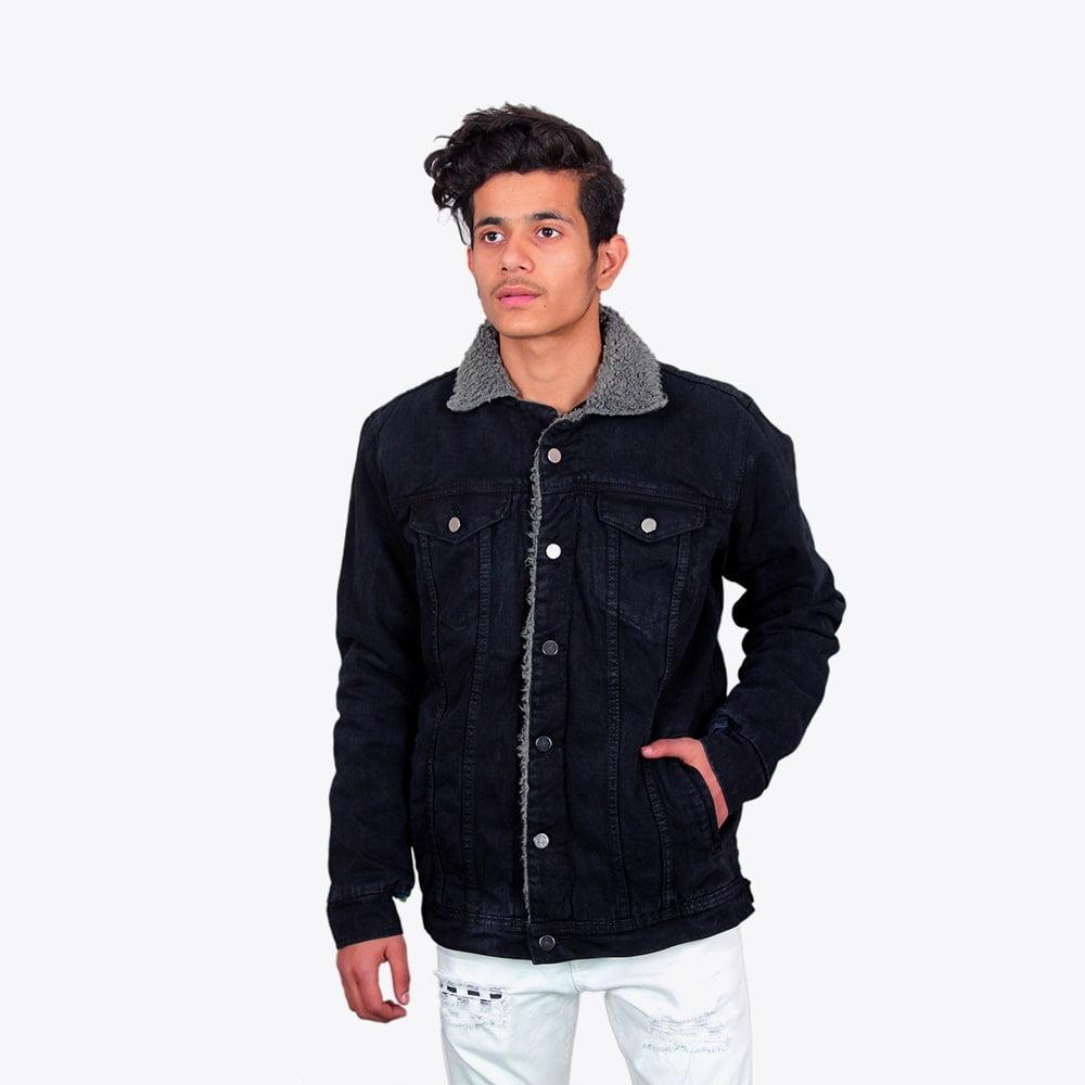 Impaurito Mens Black Sherpa Denim Jacket With Charcoal Grey Fur_2