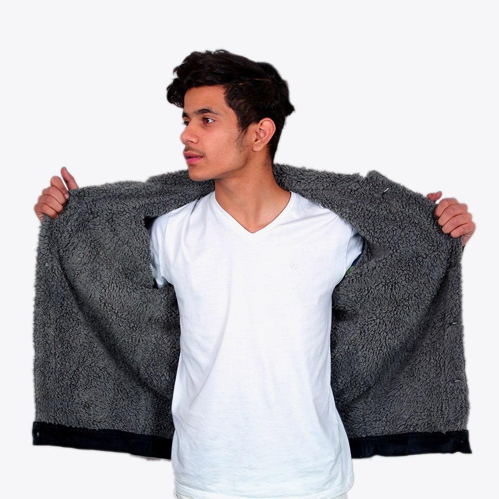 Impaurito Mens Black Sherpa Denim Jacket With Charcoal Grey Fur_3