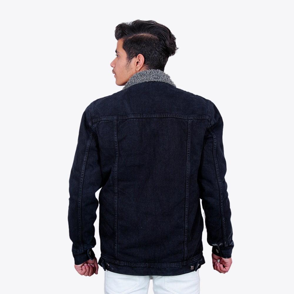 Impaurito Mens Black Sherpa Denim Jacket With Charcoal Grey Fur_4