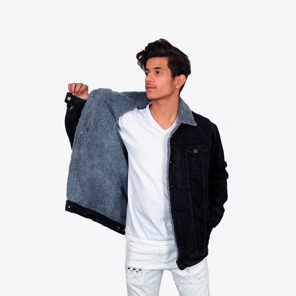 Impaurito Mens Black Sherpa Denim Jacket With Stone Grey Fur_1