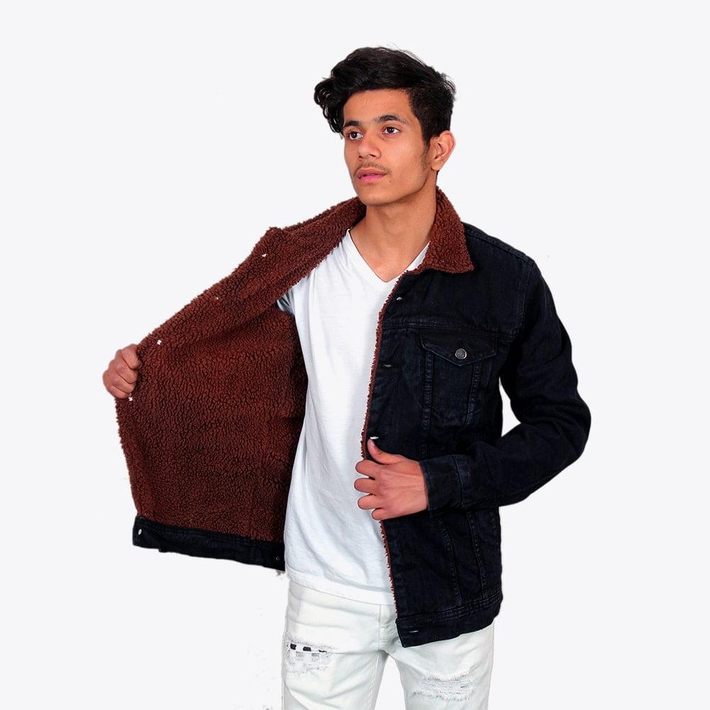 Impaurito Mens Black Sherpa Denim Jacket With Walnut Brown Fur_1